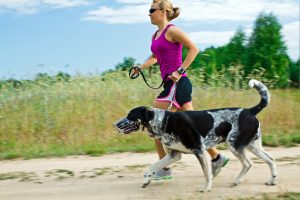 Woman runner running with a dog, blurred motion. Please see similar running images: