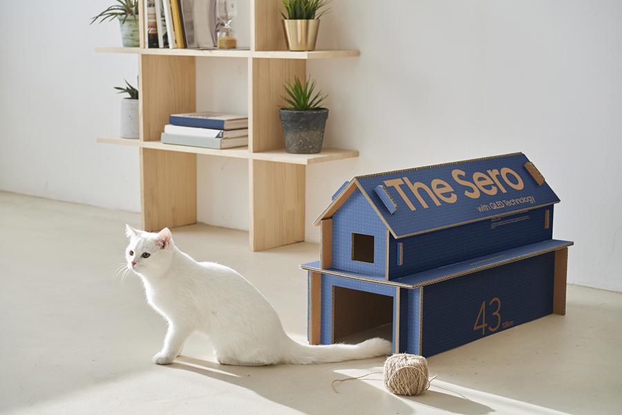 «Eco-Packaging»: reconvertir un embalaje de televisión en una casa para gatos